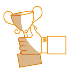 Hand human with trophy cup isolated icon vector
