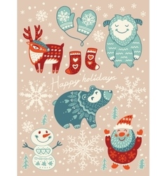 Happy holidays card christmas set with cartoon vector