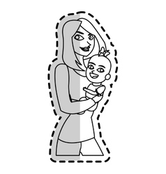 Isolated baby and mother cartoon design vector