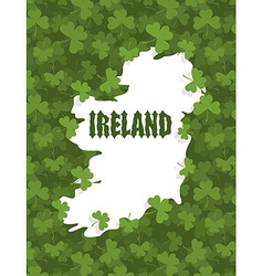 Map of ireland gothic font and clover country vector