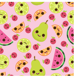 pattern with cute fruits vector image vector image
