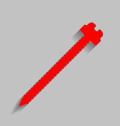 Screw sign red icon with vector