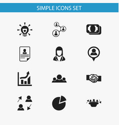 Set of 12 editable business icons includes vector