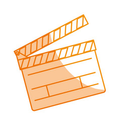 Silhouette clapper board action video filmstrips vector