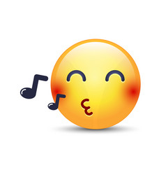 singing smiley face emoji whistles a song cartoon vector image