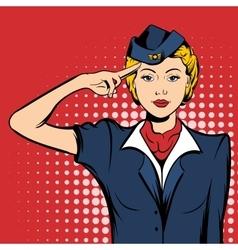 Stewardess comics woman vector image