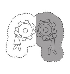 Sticker silhouette pictogram man and woman holding vector