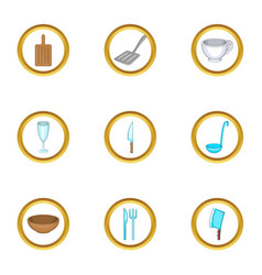 Tableware icons set cartoon style vector
