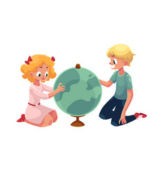 two kids children studying a globe together vector image