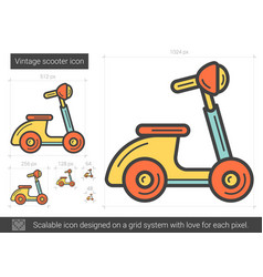 Vintage scooter line icon vector