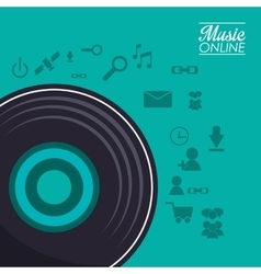 Vinyl and music online design vector