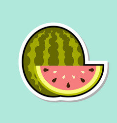 watermelon sticker on blue background colorful vector image