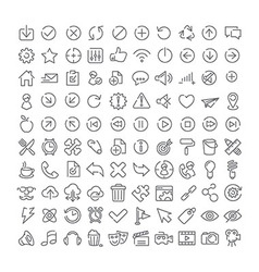 100 icons set vector image vector image