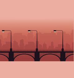 Silhouette of street lamp lined on bridge vector