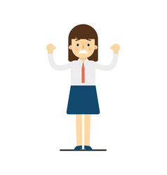 Cheerful young woman with hands up gesture vector