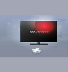 3d plus sign with modern flat screen tv with vector
