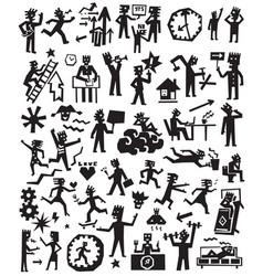 People lifestyle doodles set vector