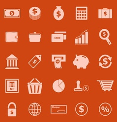 Money color icons on orange background vector image