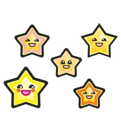 Japanese manga stars hand drawn isolated on white vector