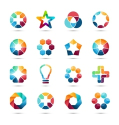 Logo templates set abstract circle creative signs vector