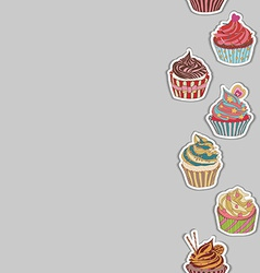 Cupcake pattern border vector
