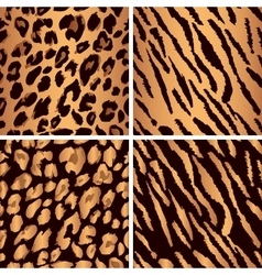 Animal skin seamless pattern set set leopard vector