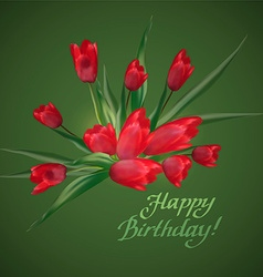 Bouquet of red tulips with lettering text happy vector