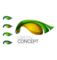 Set of abstract eco plant icons business logotype vector