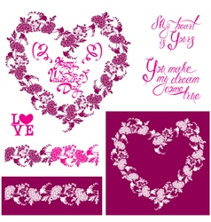 flower frame heart 380 vector image