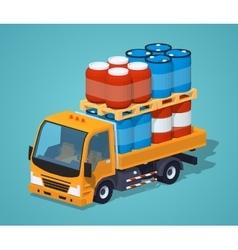 Orange truck loaded with barrels vector