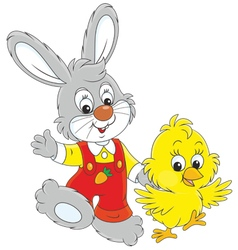 Bunny and chick vector