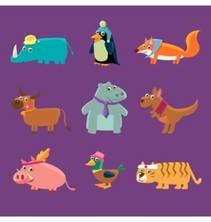 Adorable animals collection vector