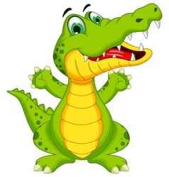 funny crocodile cartoon posing vector image