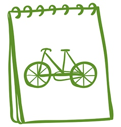 A green notebook with a drawing of a bike vector image