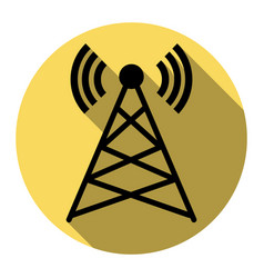 Antenna sign flat black icon vector