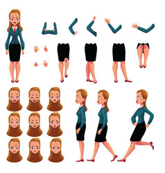 Businesswoman woman character creation set with vector