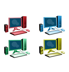 Colorful Set of Desktop Computer Icon vector image vector image