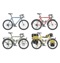 Configurations of trekking bicycles vector