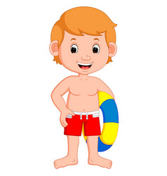 Cute little kids with inflatable circle cartoon vector