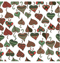 decorative patterned leaves in a red green brown vector image vector image