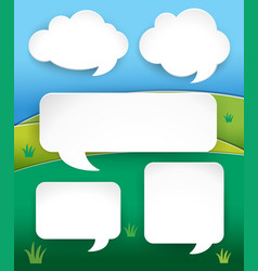 Different shapes of speech bubbles over the hills vector