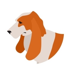 Dog head basset hound vector image vector image