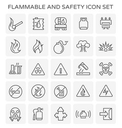 flammable safety icon vector image vector image
