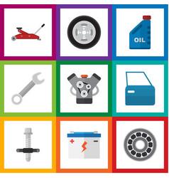 Flat icon workshop set of petrol muffler spanner vector