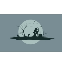 Halloween scenery with tombstones vector