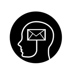 human profile with envelope vector image vector image