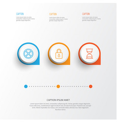 icons set collection of hourglass safeguard vector image vector image