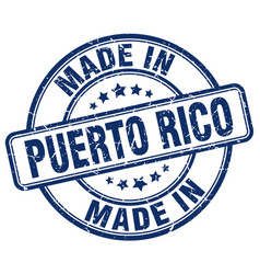 Made in puerto rico blue grunge round stamp vector
