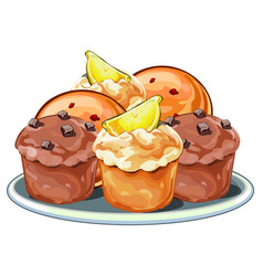 muffins with berries chocolate and lemon slices vector image