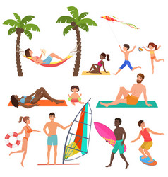 people on active sport vacation beach collection vector image vector image
